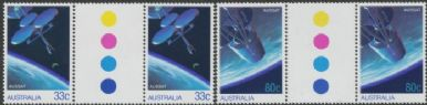 SG 998-9 AUSSAT National Communications Satellite set of 2 colour control gutter pairs (AF1/224)